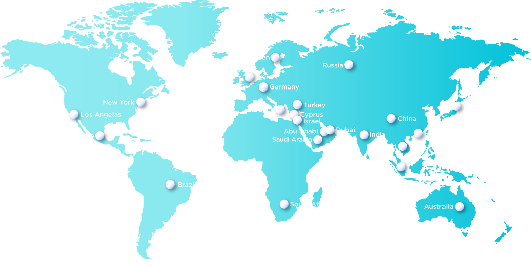 Global reach map of world